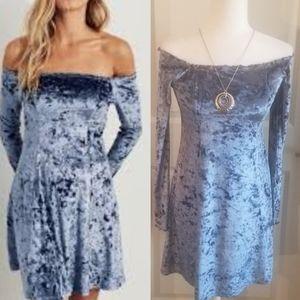 NWT Hollister Off the shoulder cv blue dress sz M